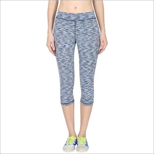 Ladies Light Blue and Black Slim Fit Sports Capri
