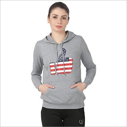Ladies Cotton Fleece Hooded Sports Sweatshirt
