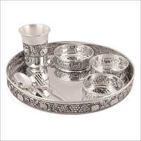 925 Silver Antique Oxidised Dinner Set