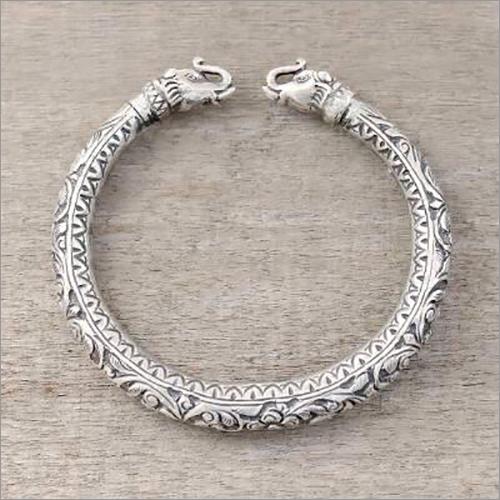 Pure Silver Antique Elephant Jaipuri Bangles