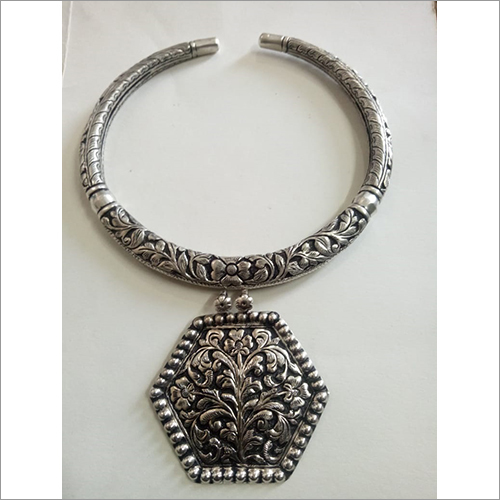 Pure Silver Antique Women Rajasthani Hasli