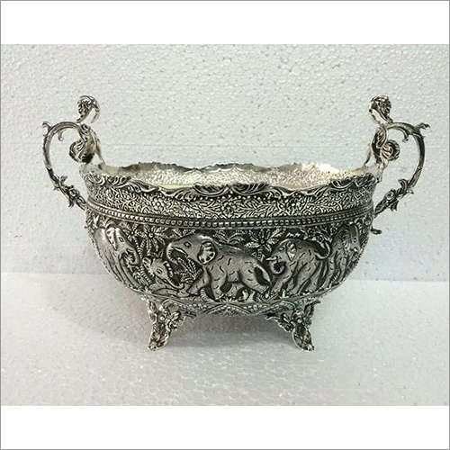 Pure Silver Oxidised Design Fruit Bowl