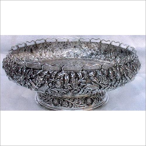 Silver Oxidised Antique Round Bowl
