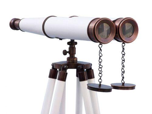 Floor Standing Admirals Bronzed With White Leather Binoculars