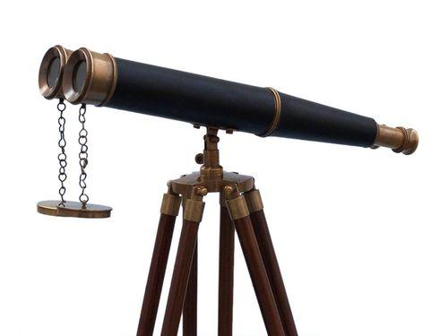 Floor Standing Admirals Antique Brass Binoculars with Leather