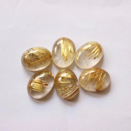 9x11mm Golden Rutilated Quartz Oval Cabochon Loose Gemstones