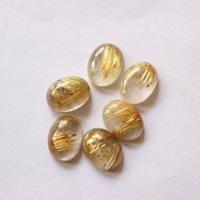 10x12mm Golden Rutilated Quartz Oval Cabochon Loose Gemstones
