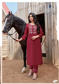 Handi Cotton With Embroidery Work Kurtis With Pant