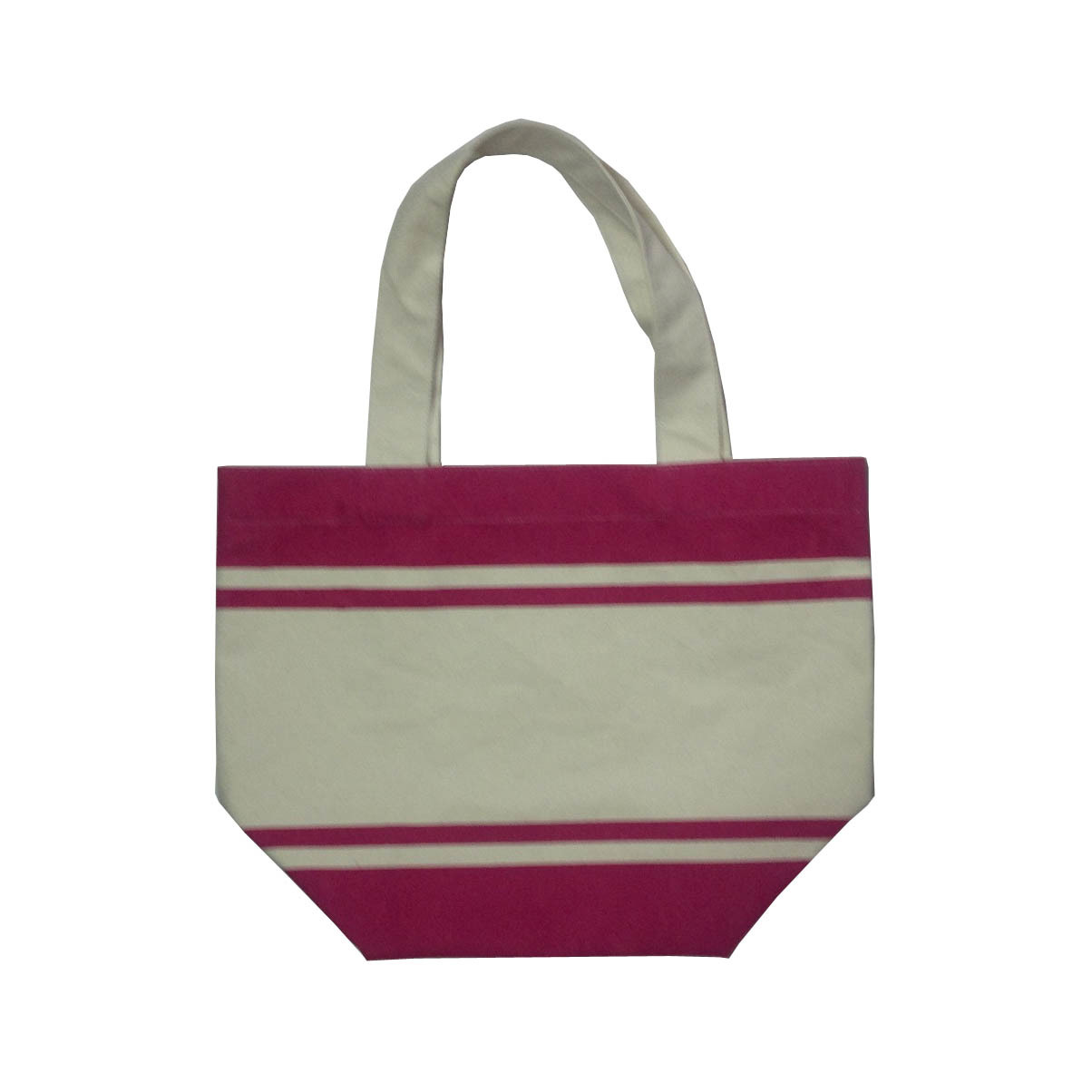 Self Handle Stripe Printed 12 OZ Natural Canvas Tote Bag