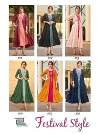 Festival Style Rayon Embroidery Kurtis With Shrug