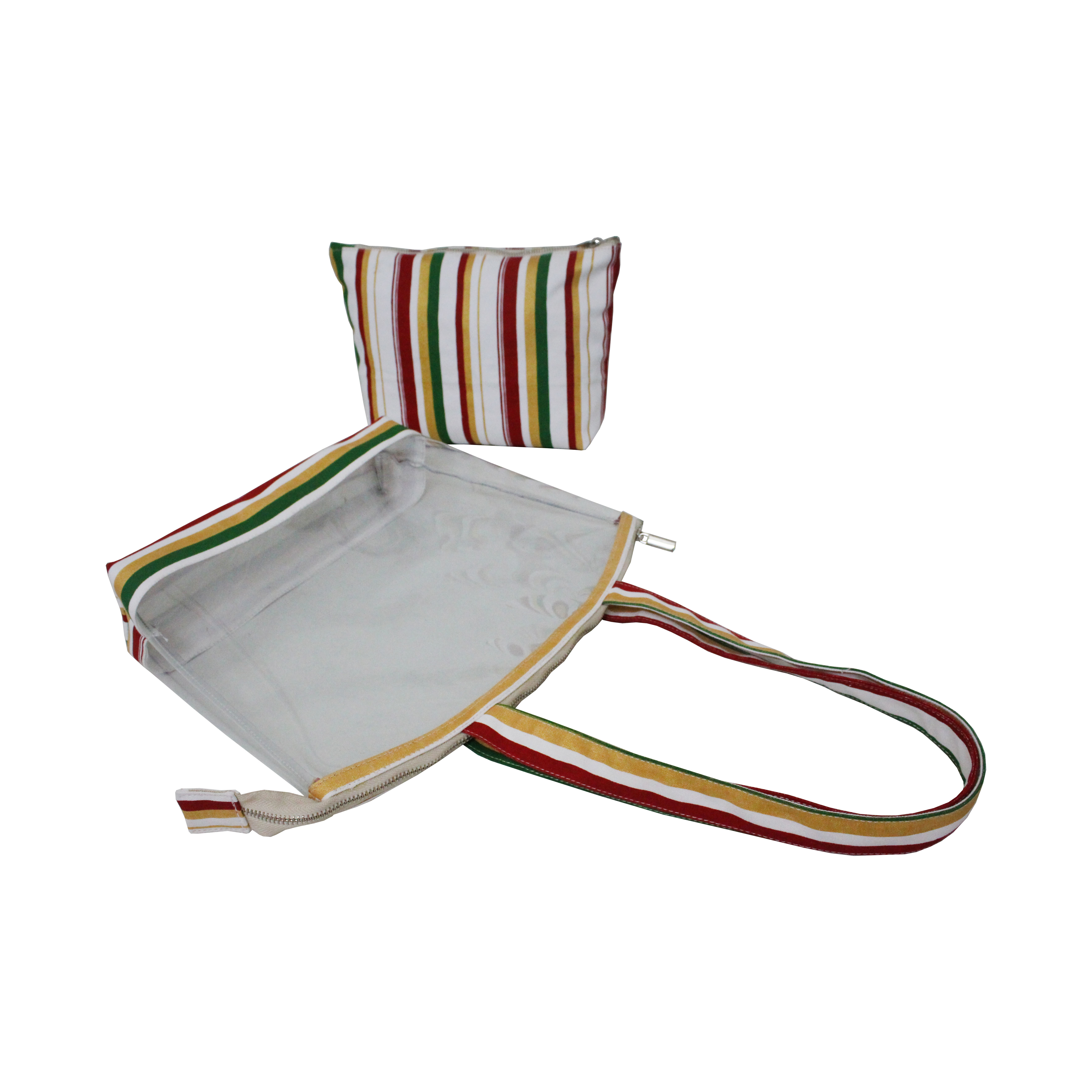 Multicolor Stripe Print Zip Closure Long Handle Transparent Canvas Tote Bag