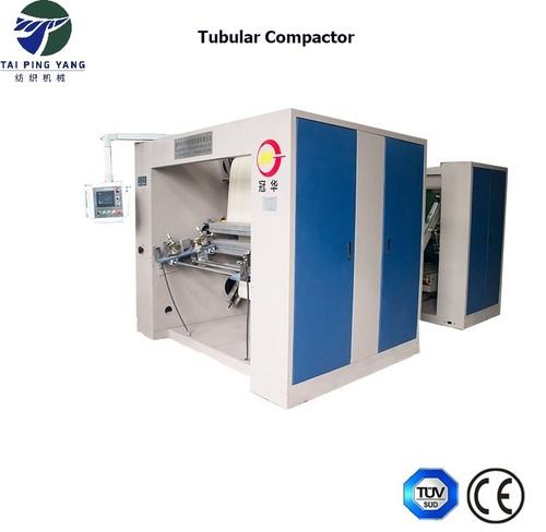 Single pass tubular compactor for circular knitting fabric