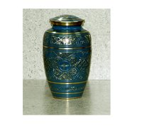 Classic Blue Engraved Urn