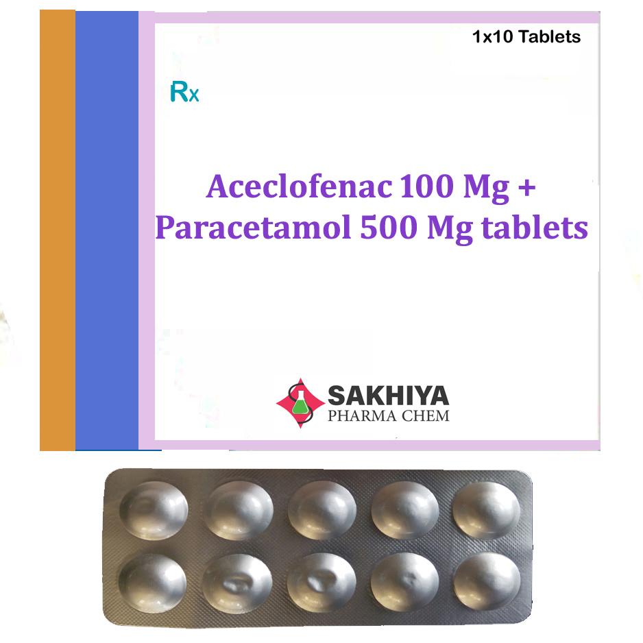 Aceclofenac 100 Mg + Paracetamol 500 Mg Tablets