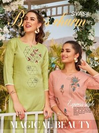 Magical Beauty Fancy Rayon Embroidery Kurtis With Pant
