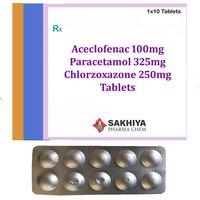 Aceclofenac 100mg + Paracetamol 325mg +Chlorzoxazone 250mg Tablets