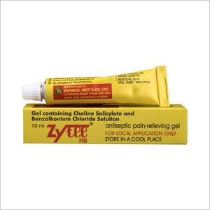 10 ml Gel Containing Choline Salicylate and Benzalkonium Chloride Solution