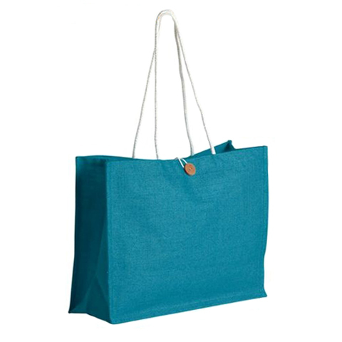 Rope Handle With Button Closure PP Laminated shopping Jute Bag