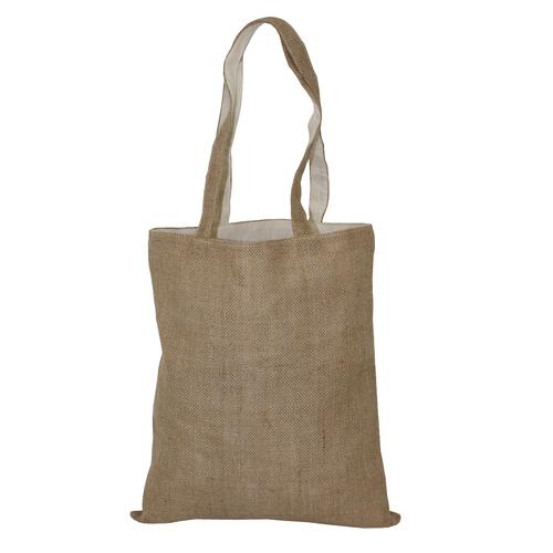 Long Self Handle Jute Cotton Reversible Tote Bag