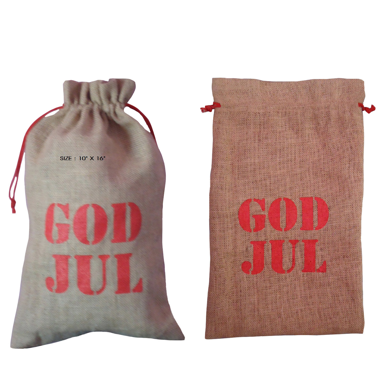 Jute Drawstring Bag With Logo Screen Print Design