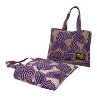 Two Color Over All Print Jute/Cotton Reversible Tote Bag