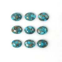7x9mm Blue Copper Turquoise Oval Cabochon Loose Gemstones