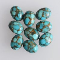 10x14mm Blue Copper Turquoise Oval Cabochon Loose Gemstones