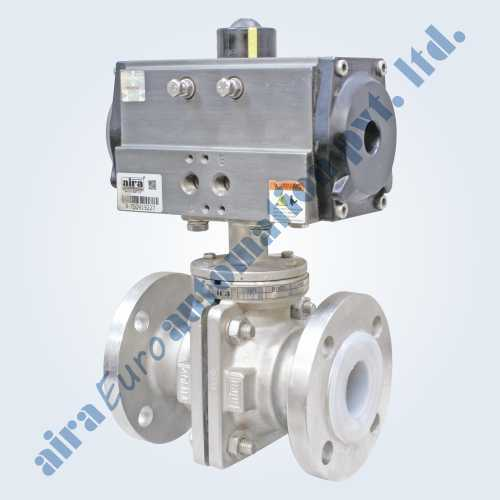 Pneumatic FEP - PFA Lined Floating Ball Valve