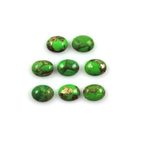 5x7mm Green Copper Turquoise Oval Cabochon Loose Gemstones