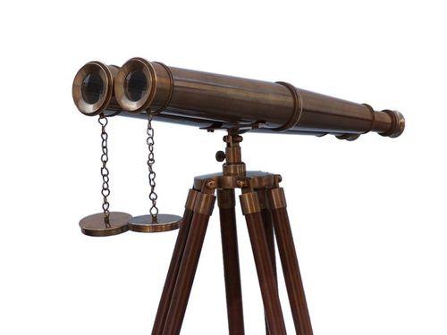 Floor Standing Admirals Antique Brass Binoculars with Wood Stand