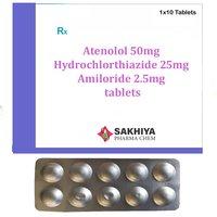 Atenolol 50mg + Hydrochlorthiazide 25mg + Amiloride 2.5mg Tablets
