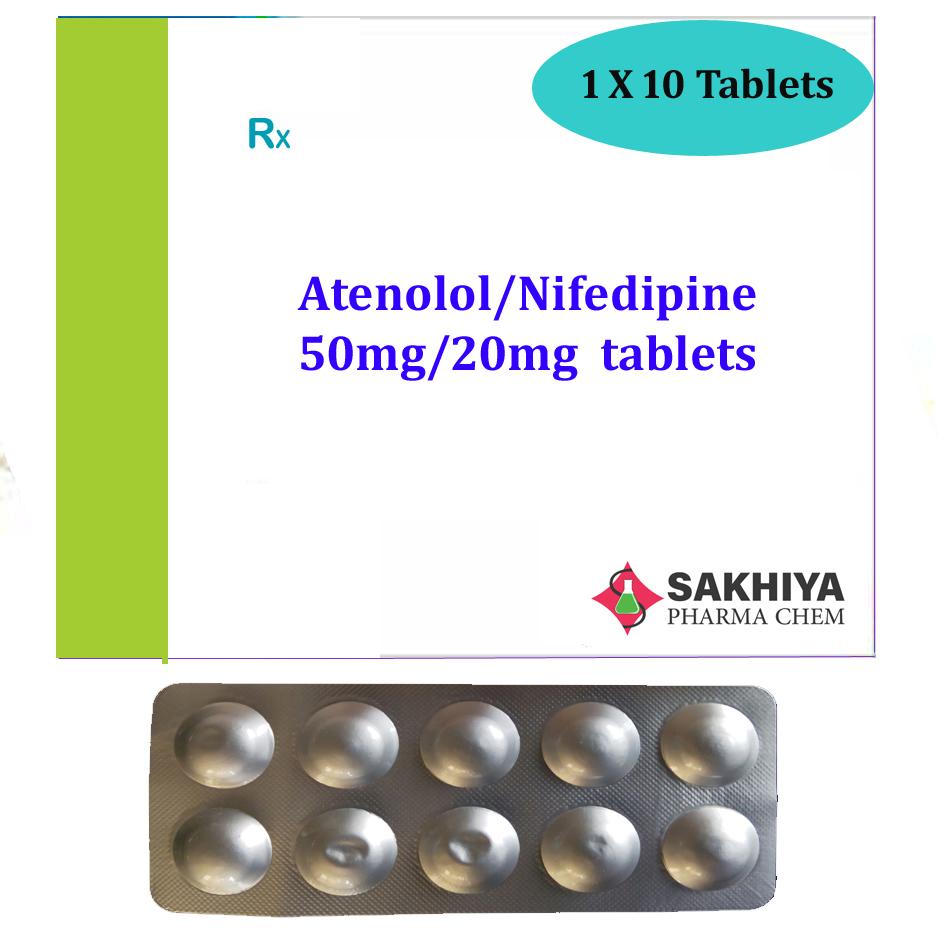 Atenolol 50mg + Nifedipine 20mg Tablets