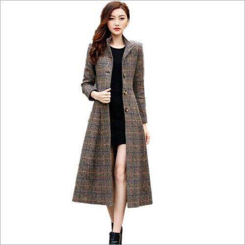 Ladies Check Long Coat