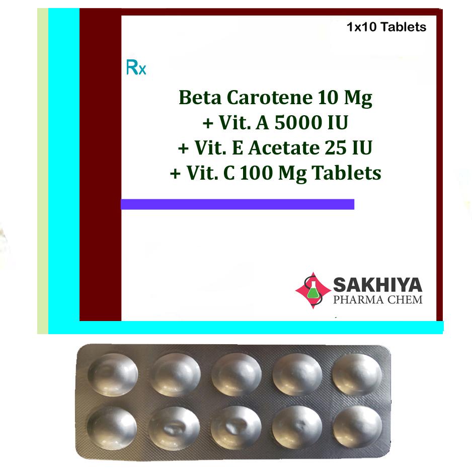 Beta Carotene 10mg + Vit. A 5000 Iu+ Vit. E Acetate 25 Iu + Vit. C 100mg Tablets