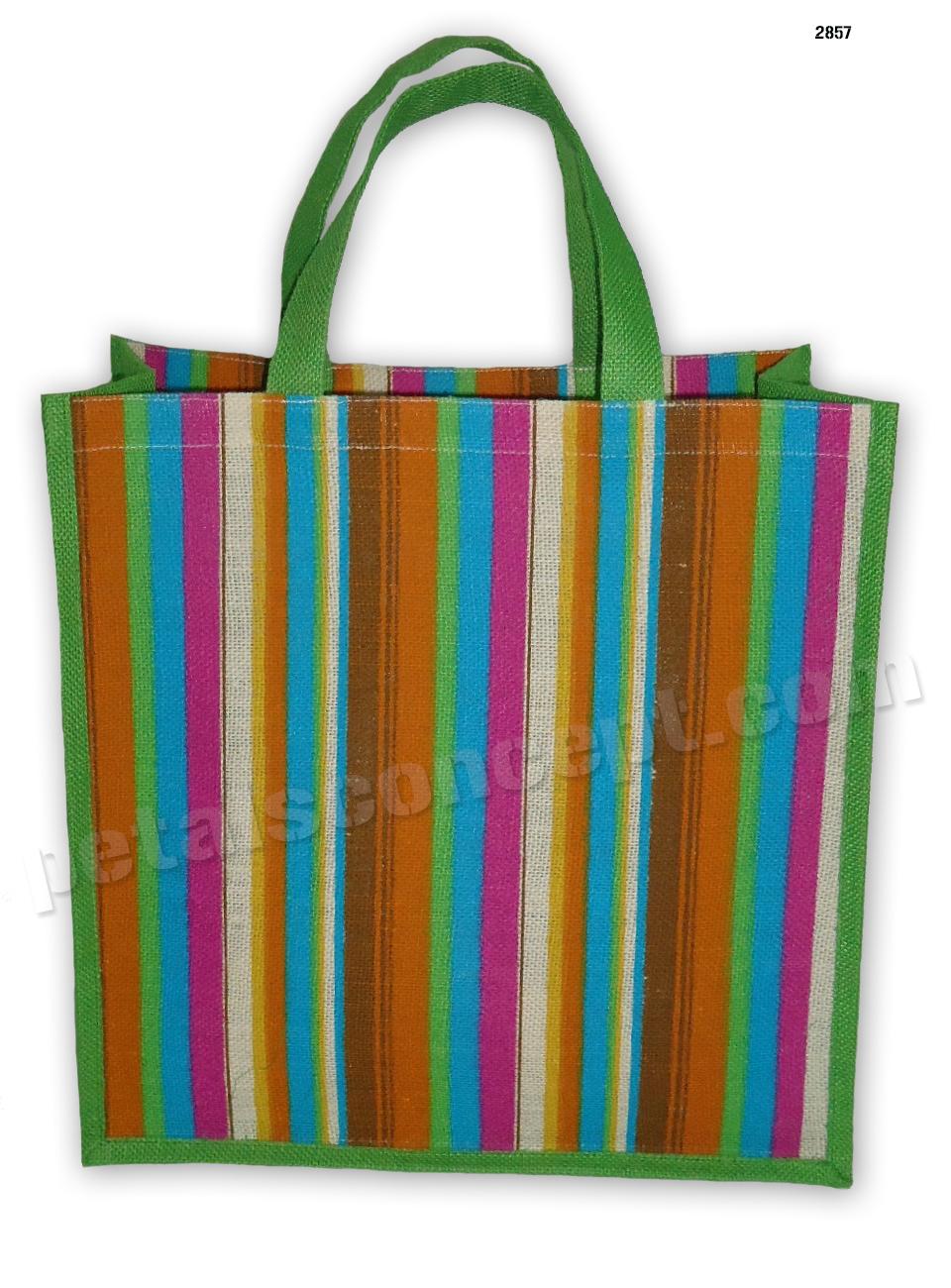 Self Handle Multicolor Stripe Print Dyed Color PP Laminated Jute bag