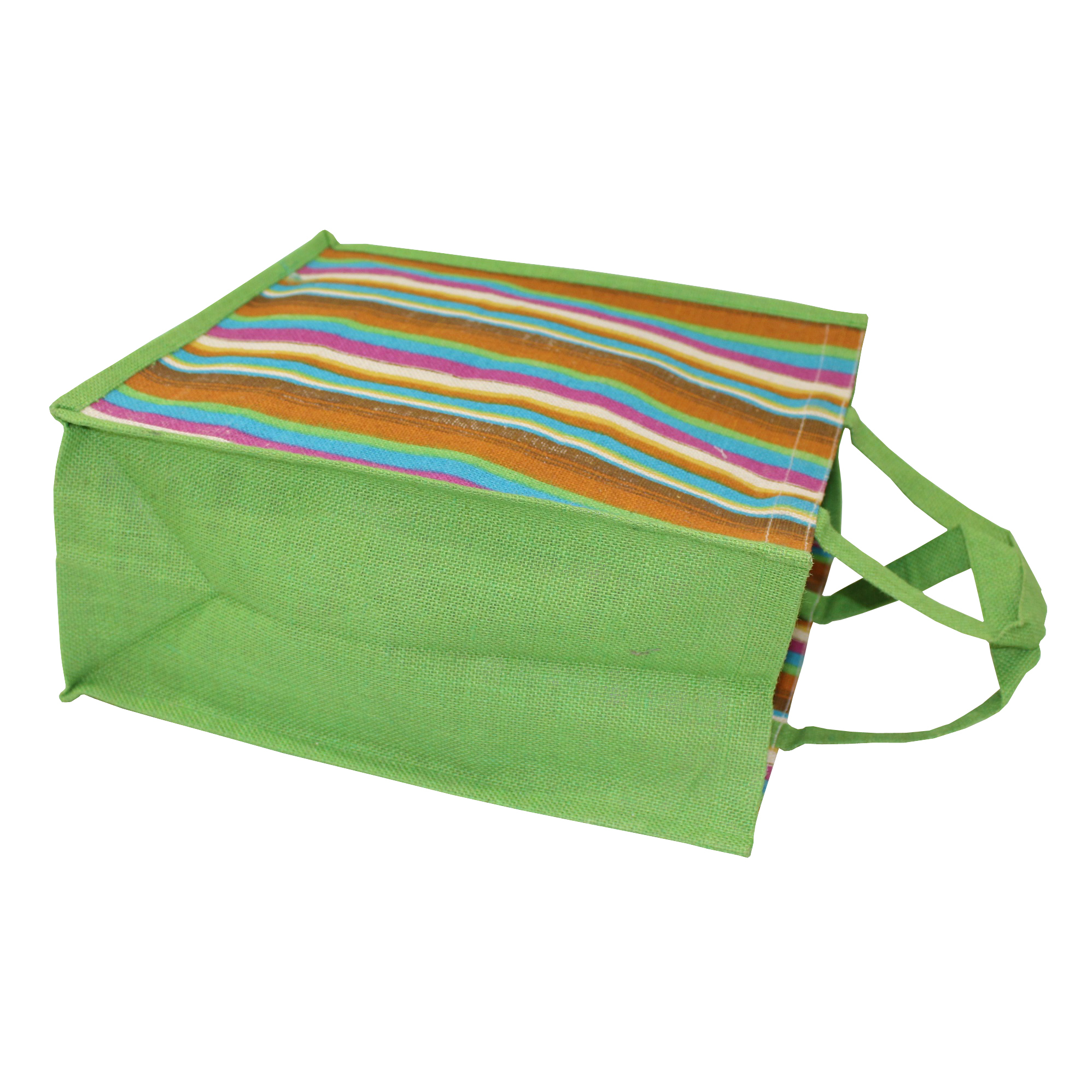 Self Handle Multicolor Stripe Print Dyed Color PP Laminated Jute bag