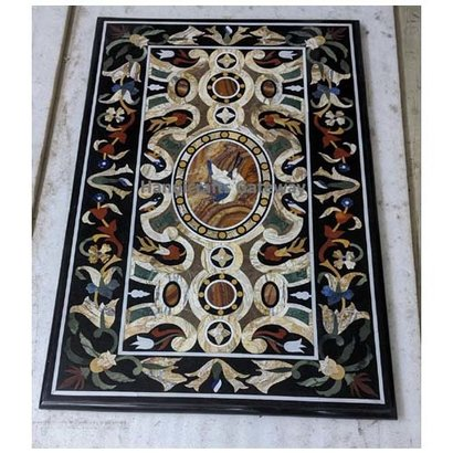 Black Handmade Marble With Different Different Stone Inlay Work Dining Table Tops