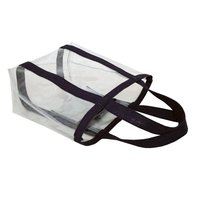 Hanging Zip Pocket Inside With Jute Handle PVC See Through Tote Bag