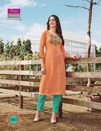 Diya Trends Victoria Vol 3 Rayon Print And Embroidery Work Kurti Catalog