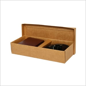 Men Brown And Black Leather Accessory Gift Set