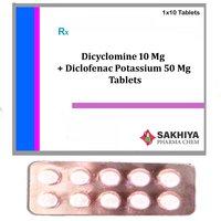 Dicyclomine 10mg + Diclofenac Potassium 50mg  Tablets