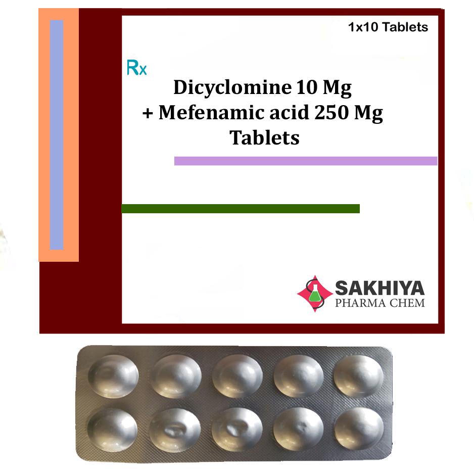 Dicyclomine 10mg + Mefenamic acid 250mg Tablets