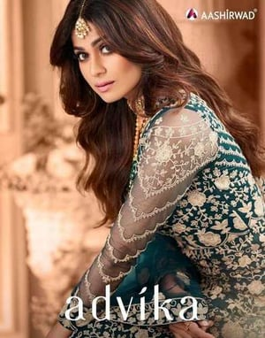 Aashirawad Advika Butterfly Net With Embroidery Gown Type Salwar Suit Catalog