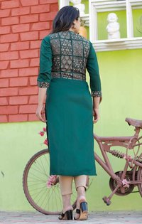 Women Rayon Kurti With Gold Printed   Jacket