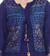 Women Rayon Kurti With Gold Printed Jacket