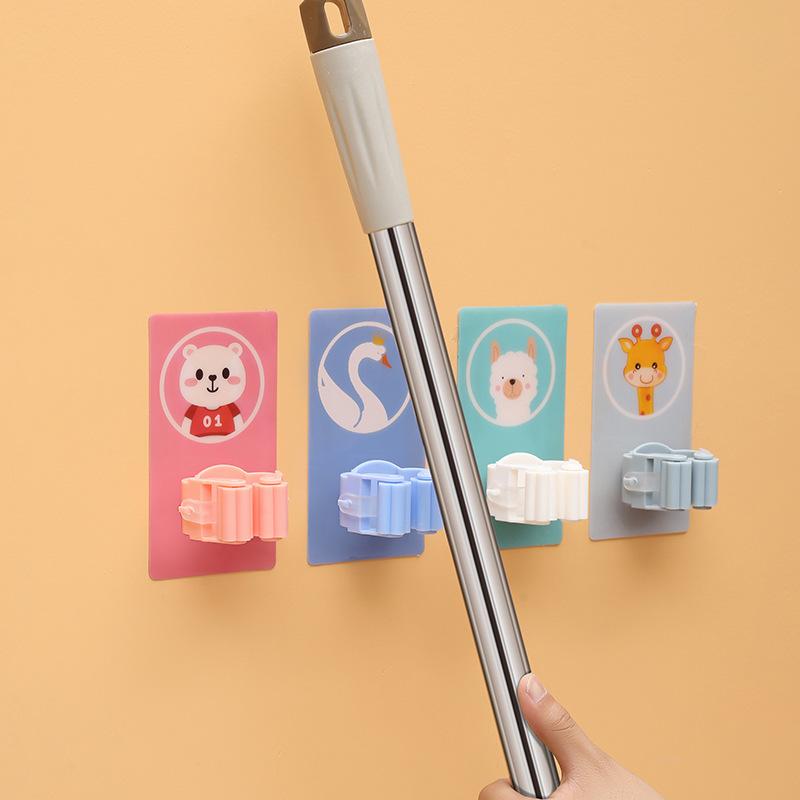 Mop & Broom Holder, Cartoon Sticker Broom Organizer Hanger