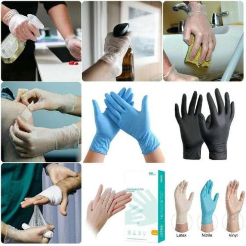Powder Free Medical Household Sterile Disposable Hand Clear Nitrile CE Vinyl and Latex Gloves