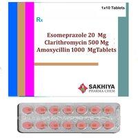 Esomeprazole 20mg + Clarithromycin 500mg + Amoxicillin 1000mgTablets
