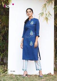 Indi Chic Vol 4 Rayon Slub Kurtis With Pant