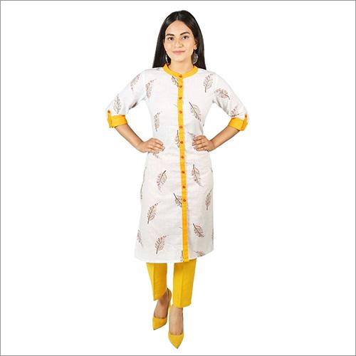 White Cotton Kurti For Girls